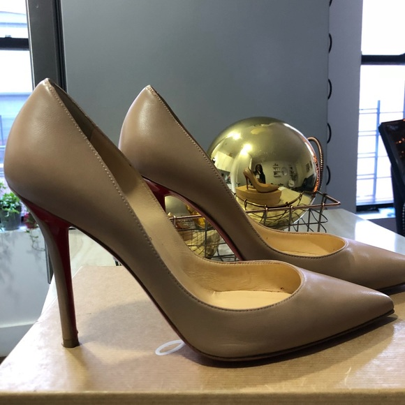 hot sale online 57274 4d041 Christian Louboutin Apostrophy Pump Nude Nappa